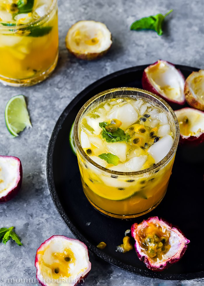This passion fruit caipiroska is a summer drink that comes with french vodka, passion fruit, and lime. Drink it up in style