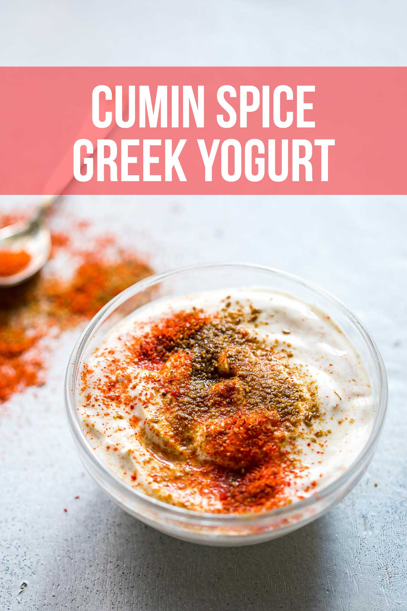 Cumin Spice Greek Yogurt is a flavor that we've grown up eating and you'll be amazed at how delicious something so simple can be. It's mildly spiced and can be great as a topping for a nourish bowl, or an after lunch snack.